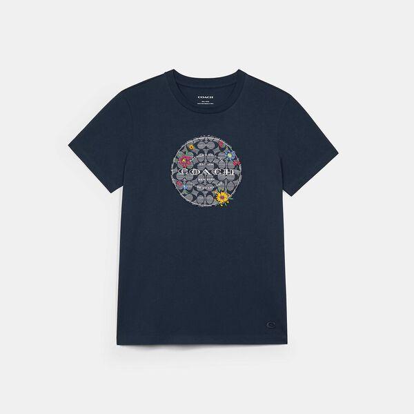 Chambray Floral Signature T-Shirt, BRIGHT NAVY, hi-res