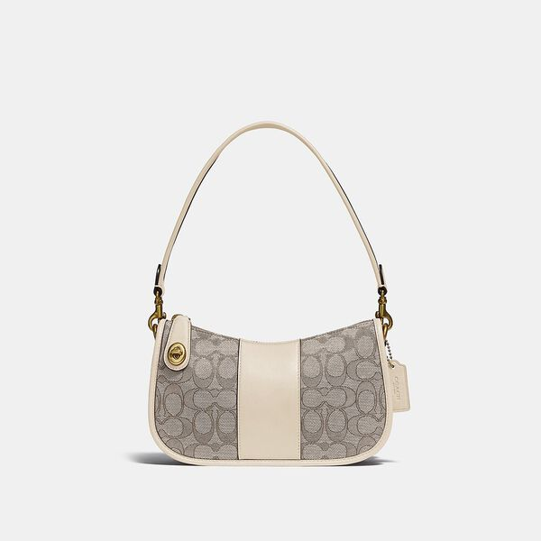 Swinger Bag In Signature Jacquard, B4/STONE IVORY, hi-res