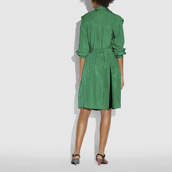 Architectural Drape Belted Dress, Green, hi-res