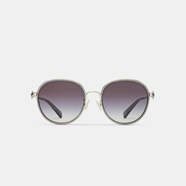 Metal Round Sunglasses, TRANSPARENT GREY, hi-res