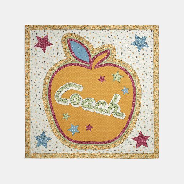 Coach Apple Patchwork Print Oversized Square Scarf, POLLEN, hi-res