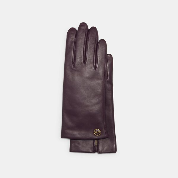 Horse And Carriage Plaque Leather Tech Gloves, DEEP BERRY, hi-res