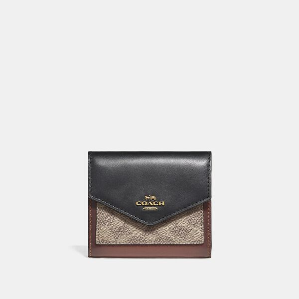 Small Wallet In Colourblock Signature Canvas, B4/TAN BLACK, hi-res