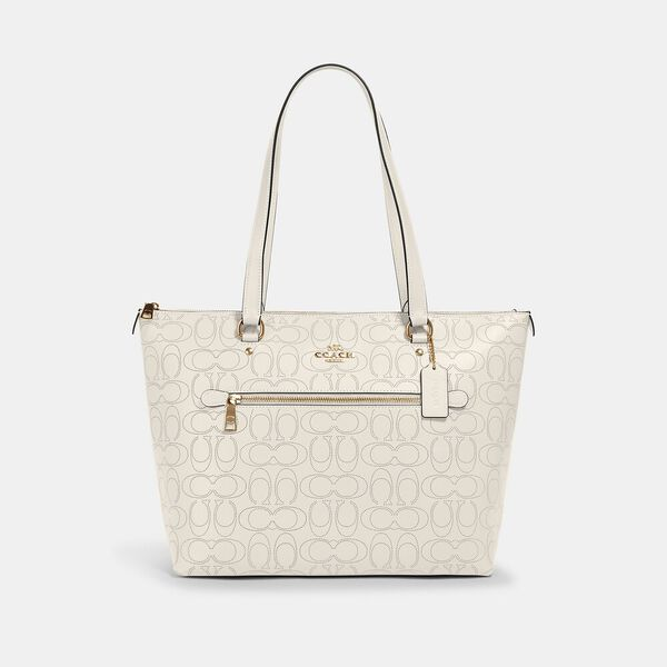 Gallery Tote In Signature Leather, IM/CHALK, hi-res