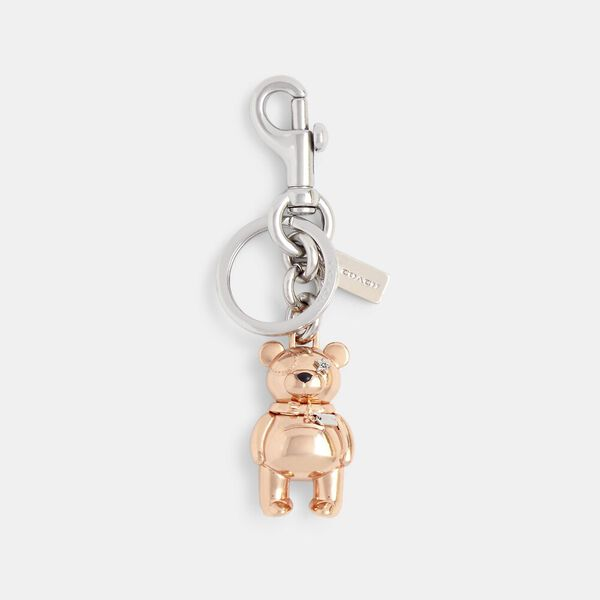 3D Bear Bag Charm, ROSEGOLD, hi-res