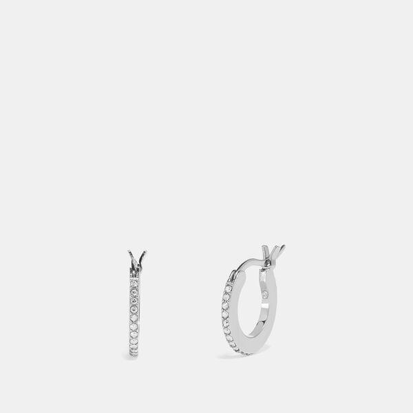 Pave Huggie Earrings, SV/CLEAR, hi-res