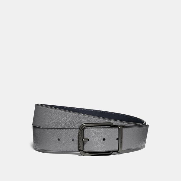 Roller Buckle Cut-To-Size Reversible Belt, 38Mm, WASHED STEEL/MIDNIGHT, hi-res