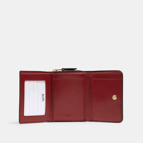 Small Trifold Wallet In Signature Canvas, IM/BROWN 1941 RED, hi-res