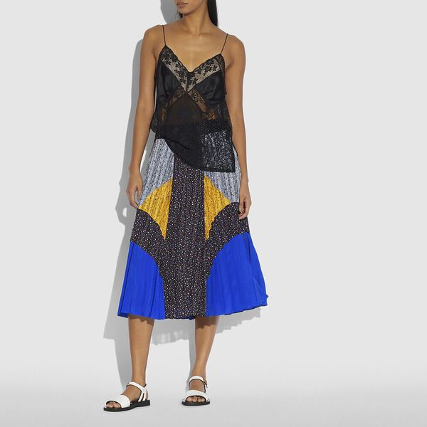 Mix Pleated Skirt, Black/Blue/Grey/Yellow, hi-res