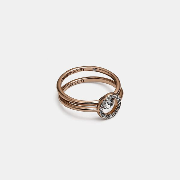 Halo Pave Ring Set, ROSE GOLD, hi-res