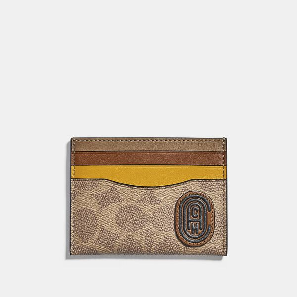 Card Case In Colorblock Signature Canvas With Coach Patch, KHAKI/FLAX, hi-res