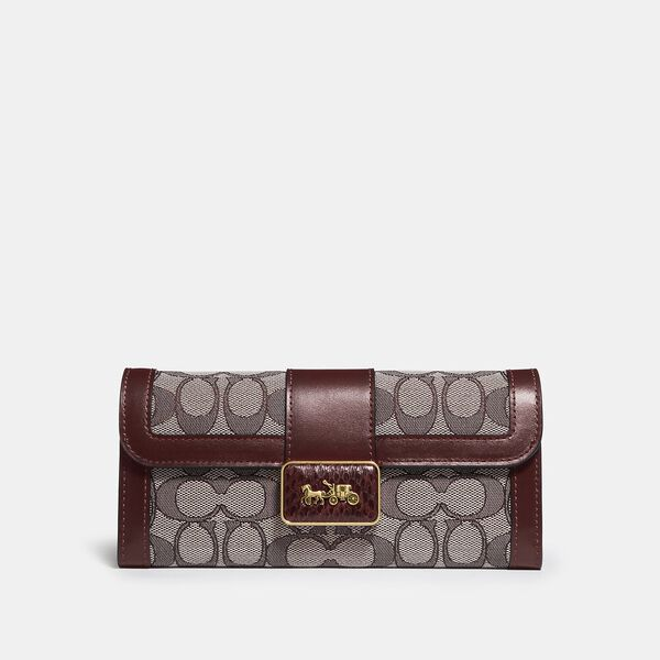 Allie Wallet In Signature Jacquard With Snakeskin Detail, B4/BURGUNDY BLK CHERRY, hi-res