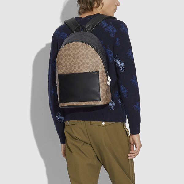 Metropolitan Soft Backpack In Colorblock Signature Canvas, JI/KHAKI MULTI, hi-res