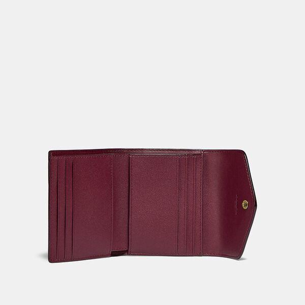 Wyn Small Wallet In Colorblock Signature Canvas, B4/TAN RUST, hi-res