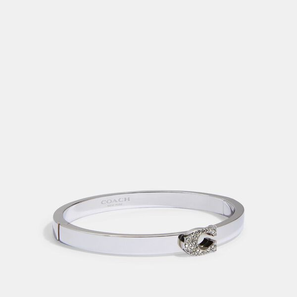 Pave Signature Hinged Bangle, SILVER, hi-res