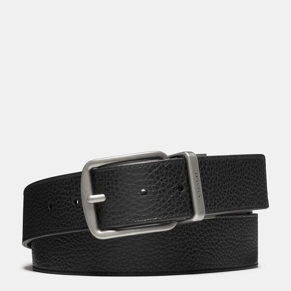 Harness Buckle Cut-To-Size Reversible Belt, 38mm, BLACK/DARK BROWN, hi-res