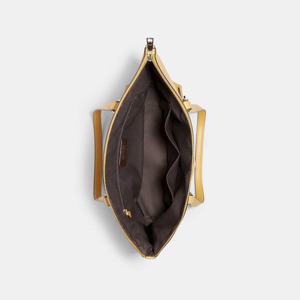 Gallery Tote In Signature Leather, IM/HONEY, hi-res