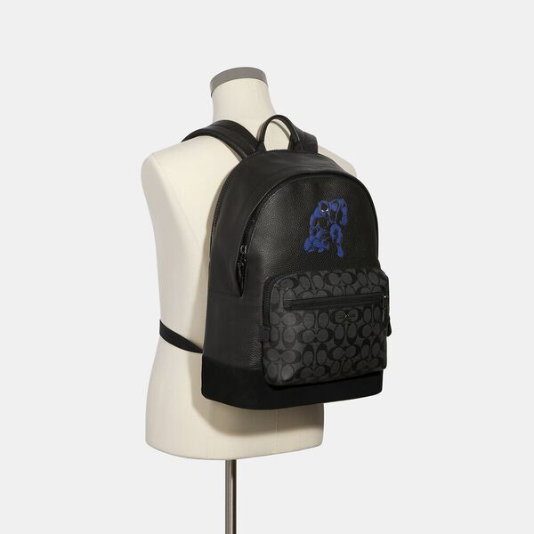 Coach x Marvel West Backpack With Signature Canvas Detail And Black Panther, QB/CHARCOAL BLACK, hi-res