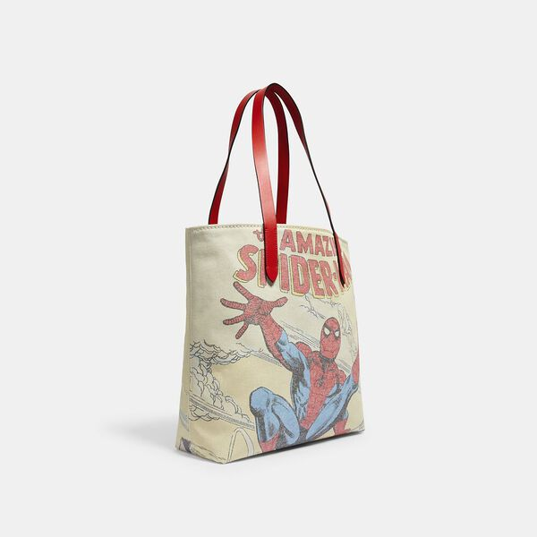 Coach x Marvel Tote With Spider-Man, SV/MIAMI RED MULTI, hi-res