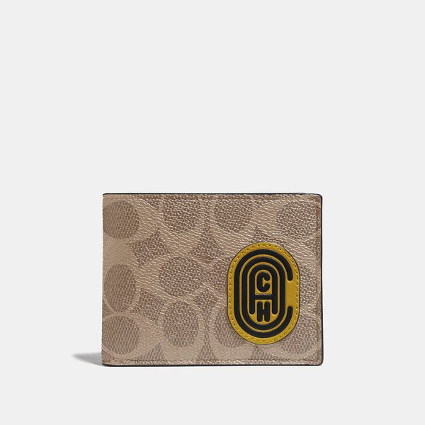 Slim Billfold Wallet In Signature Canvas With Coach Patch