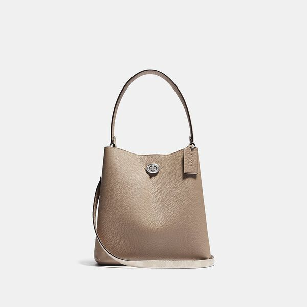 Charlie Bucket Bag 21 In Blocked Signature Canvas, LH/SAND TAUPE, hi-res