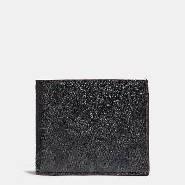 3-In-1 Wallet In Signature Canvas, BLACK/BLACK/OXBLOOD, hi-res