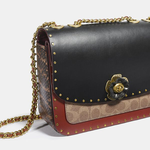 Madison Shoulder Bag In Signature Canvas With Rivets And Snakeskin Detail, B4/TAN RUST, hi-res