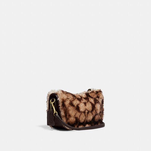 Swinger Bag With Chain In Signature Shearling, B4/CHESTNUT DARK TEAK, hi-res