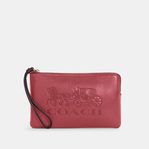 Large Corner Zip Wristlet With Horse And Carriage
