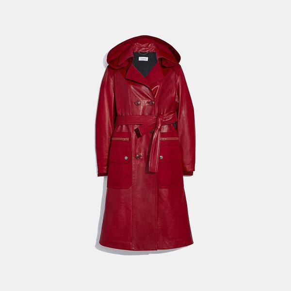 Leather Trench With Ruching Detail, Red, hi-res