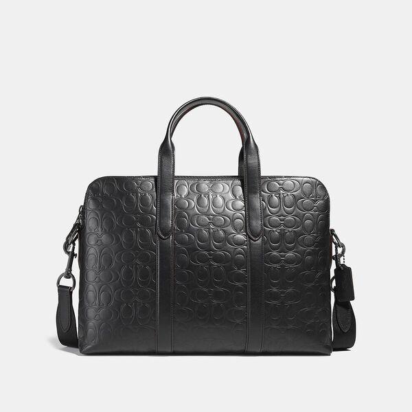 Metropolitan Soft Brief In Signature Leather, QB/BLACK, hi-res