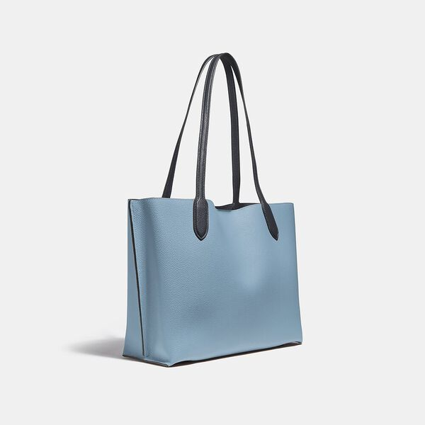 Willow Tote In Colorblock With Signature Canvas Interior, V5/AZURE MULTI, hi-res