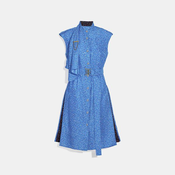 Dot Sleeveless Dress With Belt, Blue/Pink, hi-res