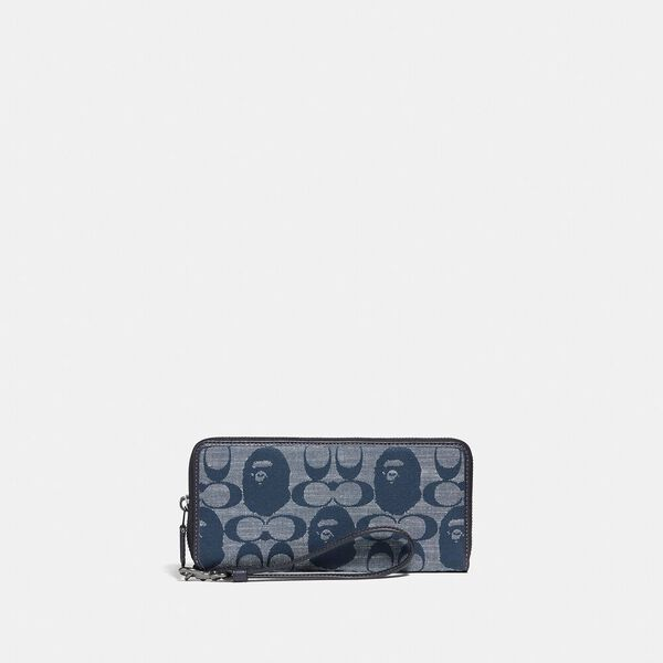 BAPE x Coach Phone Wallet In Signature Chambray, V5/CHAMBRAY, hi-res