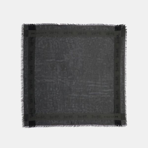 Horse And Carriage Print Border Oversized Square Scarf, BLACK, hi-res