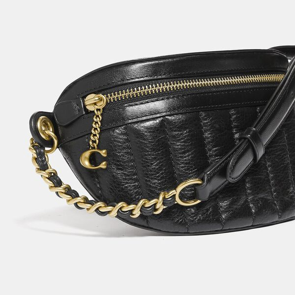 Chain Belt Bag With Quilting, B4/BLACK, hi-res
