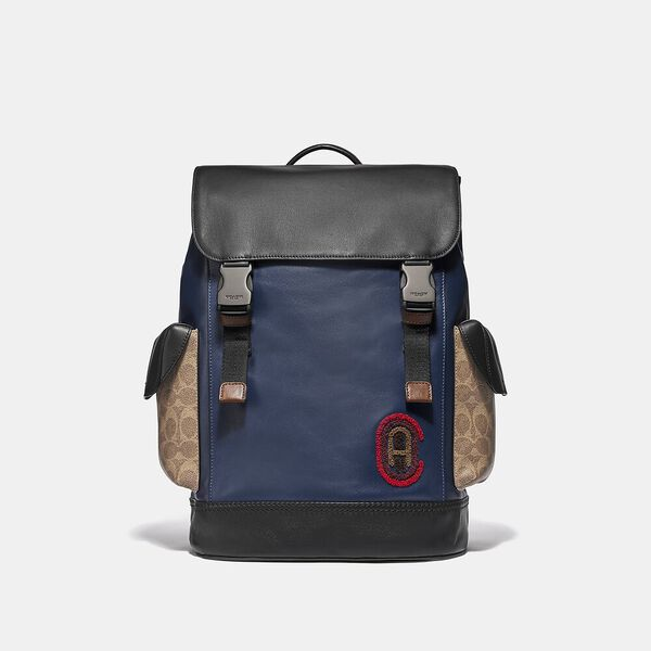 Rivington Backpack With Signature Canvas Detail And Coach Patch