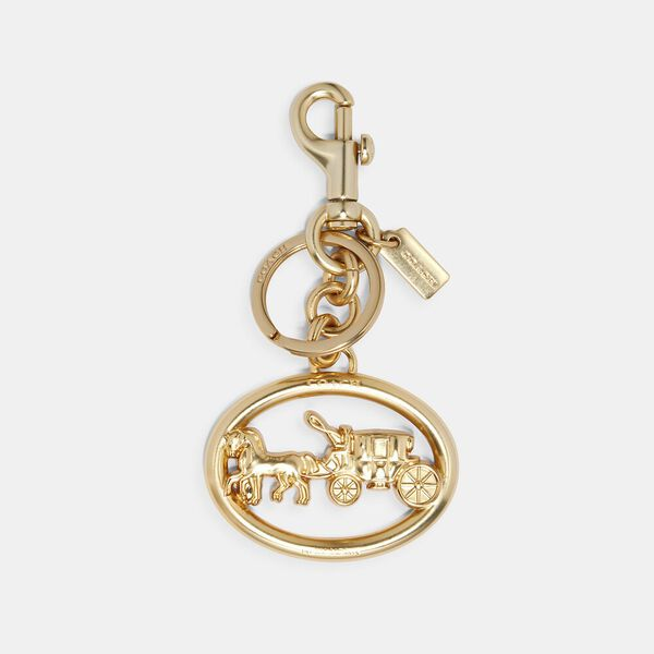 Horse And Carriage Bag Charm, GOLD, hi-res