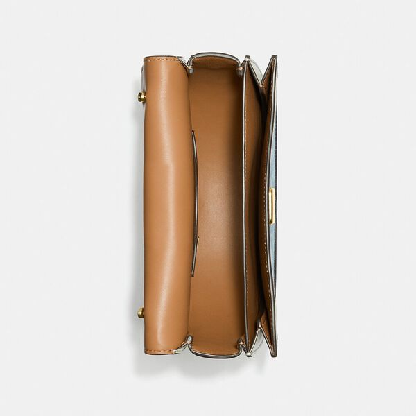 Alie Saddle Bag In Signature Chambray, B4/LIGHT WASHED DENIM CHALK, hi-res
