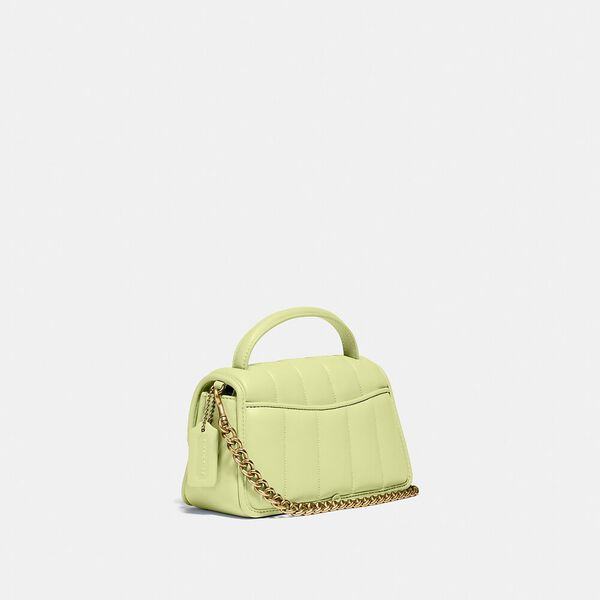 Turnlock Clutch 20 With Quilting, B4/PALE LIME, hi-res