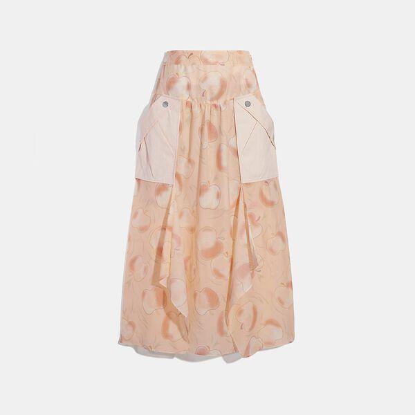 Long Draped Skirt With Pockets, PEACH, hi-res