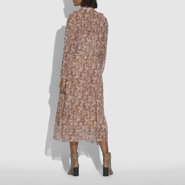 Georgette Ruffle Dress, PINK/TAN, hi-res