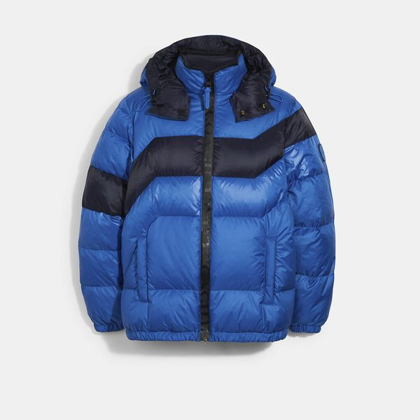 Hooded Down Jacket, TRUE BLUE, hi-res