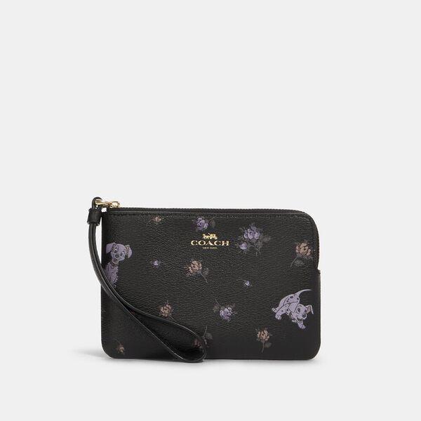 Disney X Coach Corner Zip Wristlet With Dalmatian Floral Print, IM/BLACK MULTI, hi-res