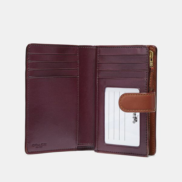 Medium Corner Zip Wallet In Colorblock Signature Canvas, B4/TAN RUST, hi-res