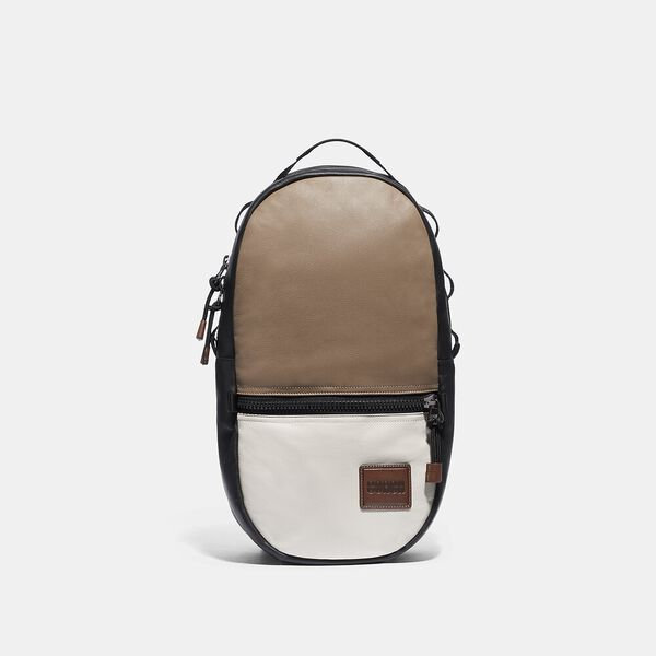 Pacer Backpack In Colorblock With Coach Patch, JI/BROWN MULTI, hi-res