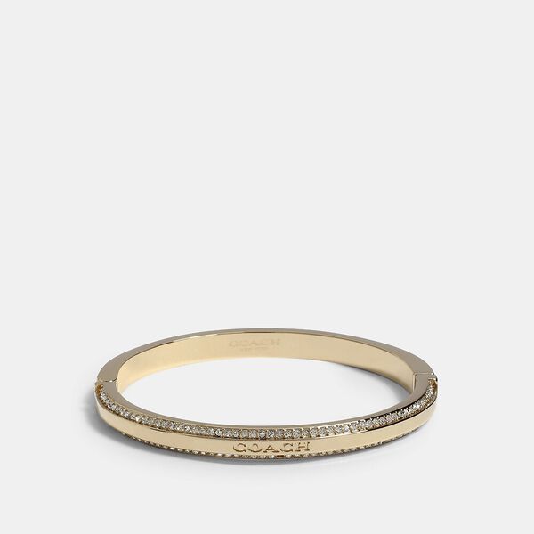 Coach Pave Hinged Bangle, GOLD, hi-res