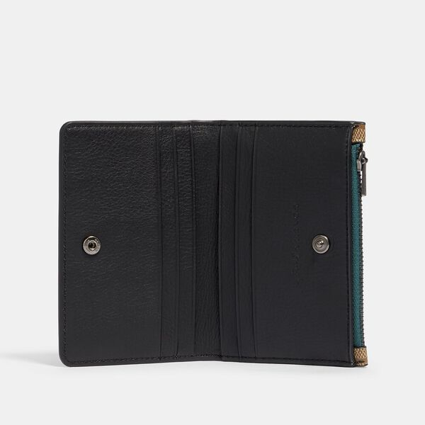 Slim Bifold Card Wallet In Signature Canvas With Rexy By Guang Yu, QB/TAN BLACK, hi-res