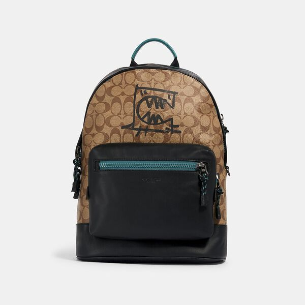 West Backpack In Signature Canvas With Rexy By Guang Yu, QB/KHAKI MULTI, hi-res