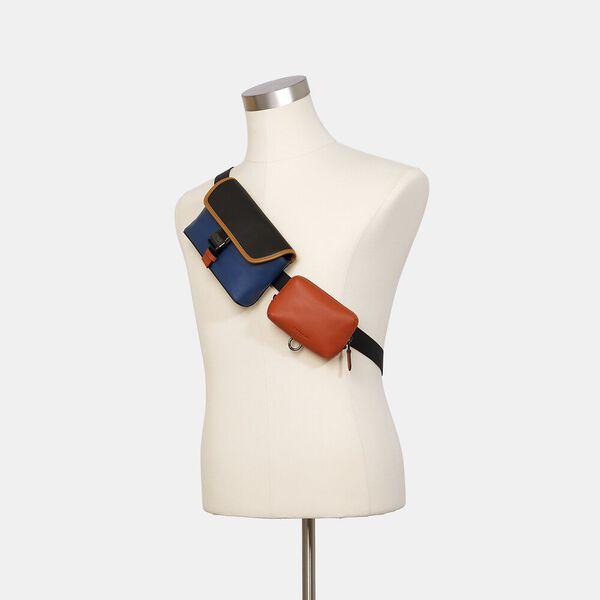 Rider Double Belt Bag In Colorblock, QB/TRUE BLUE BRIGHT CANYON, hi-res
